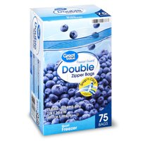 Great Value Double Zipper Quart Freezer Bags Mega Pack, 75 count