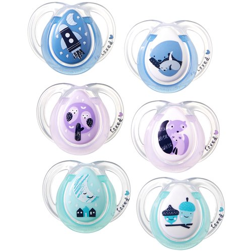 Tommee Tippee Night Time Orthodontic Pacifiers, 0-6 Months - 2 Counts