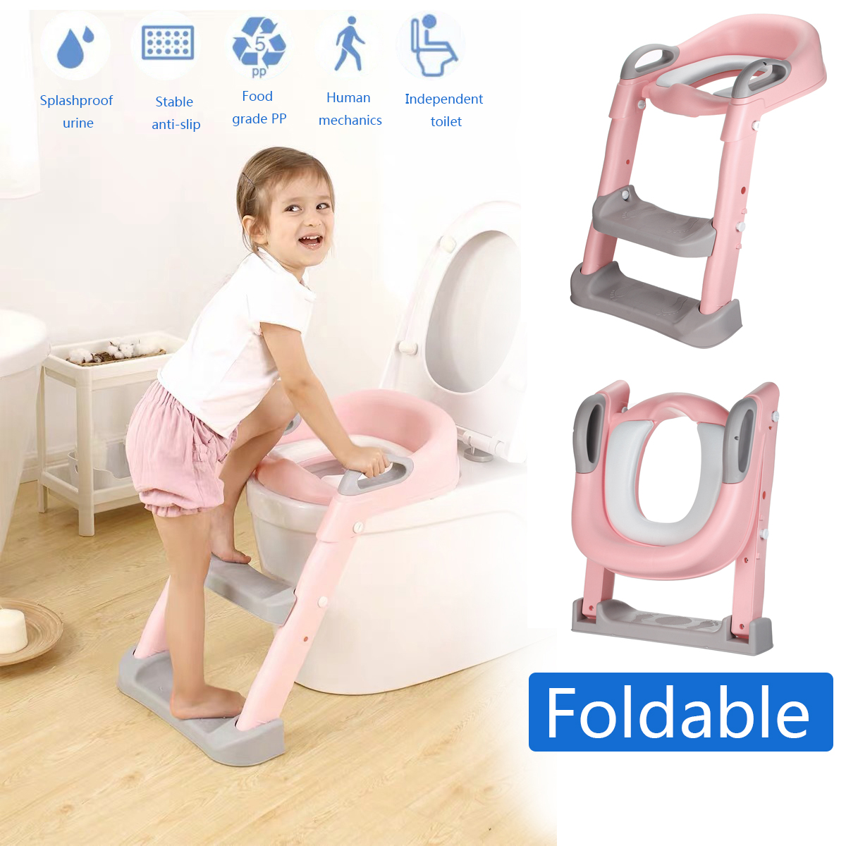 Foldable Baby Potty Infant Kids Toilet Chair Portable Training Seat with No-Slip Ladder Step Stool for Boys Girls Pink Amazing Tour Potty Toddler Toilet Seat Kids Chair