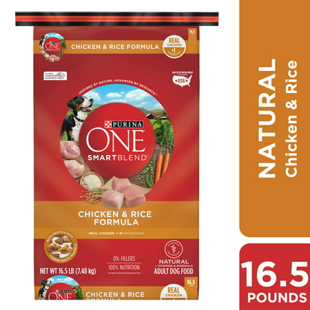 Purina ONE Natural Dry Dog Food, SmartBlend Chicken & Rice Formula - 16.5 lb. Bag (Purina One Rice)