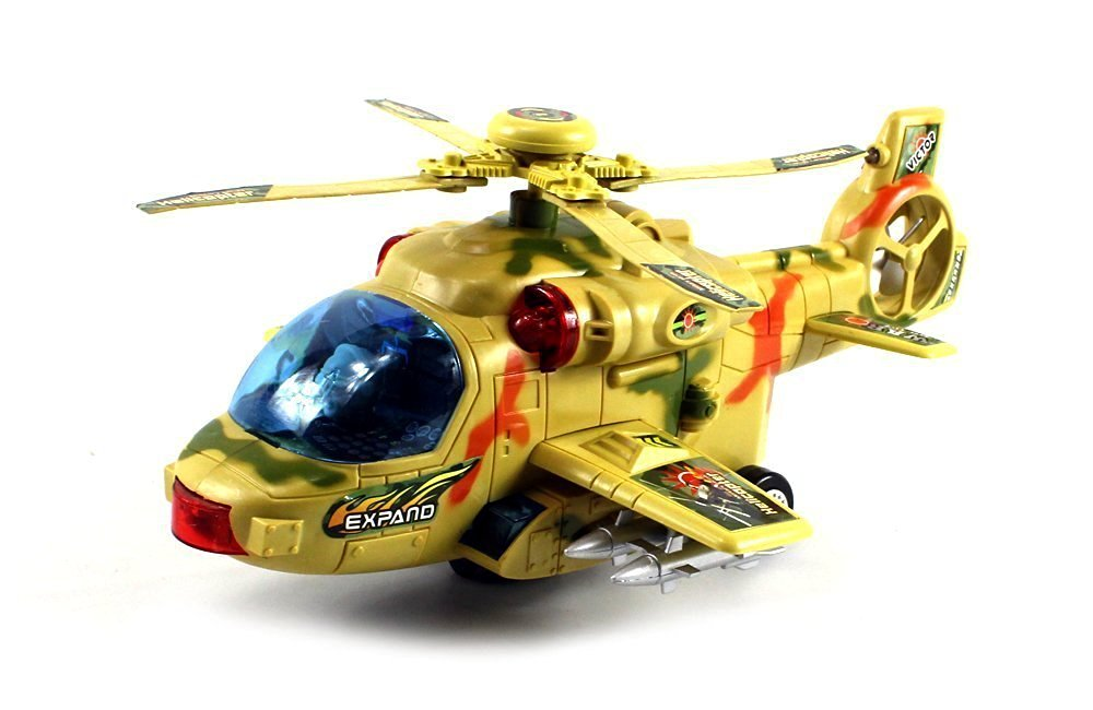 Military Convoy Gunship Battery Operated Kid's Bump and Go Toy Helicopter w  Fun Flashing... by Velocity Toys