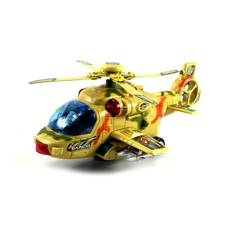 Military Convoy Gunship Battery Operated Kid's Bump and Go Toy Helicopter w/ Fun Flashing Lights, Sounds, Spinning Rotor