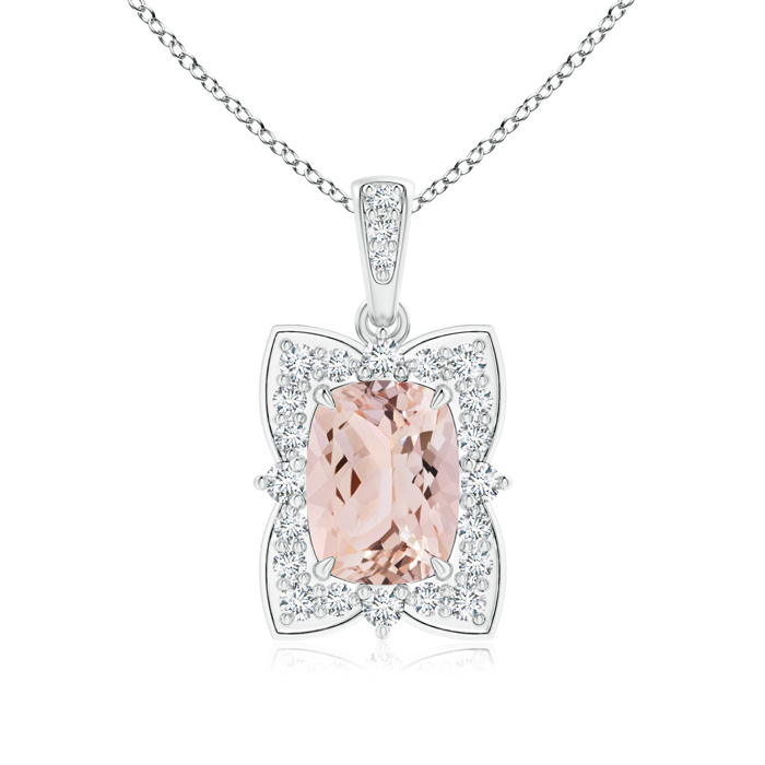 Scalloped Cushion Morganite Flower Necklace with Diamond Halo in 950 Platinum (8x6mm Morganite) SP0846MGD-PT-AAA-8x6 by Angara.com