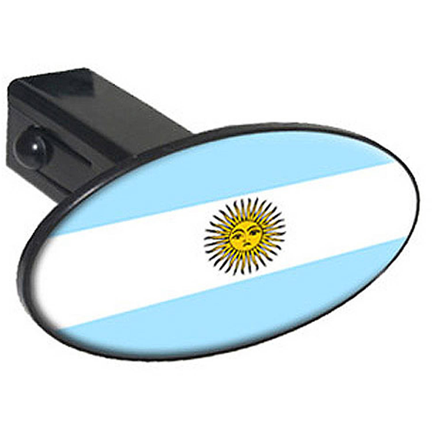 """Argentina Flag, Country 1.25"""" Oval Tow Trailer Hitch Cover Plug Insert by Graphics and More"""