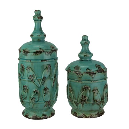 2 Piece Jar - Turquoise Vintage Finish 2 Piece Set of Birds On a Wire Ceramic Jars with Lid