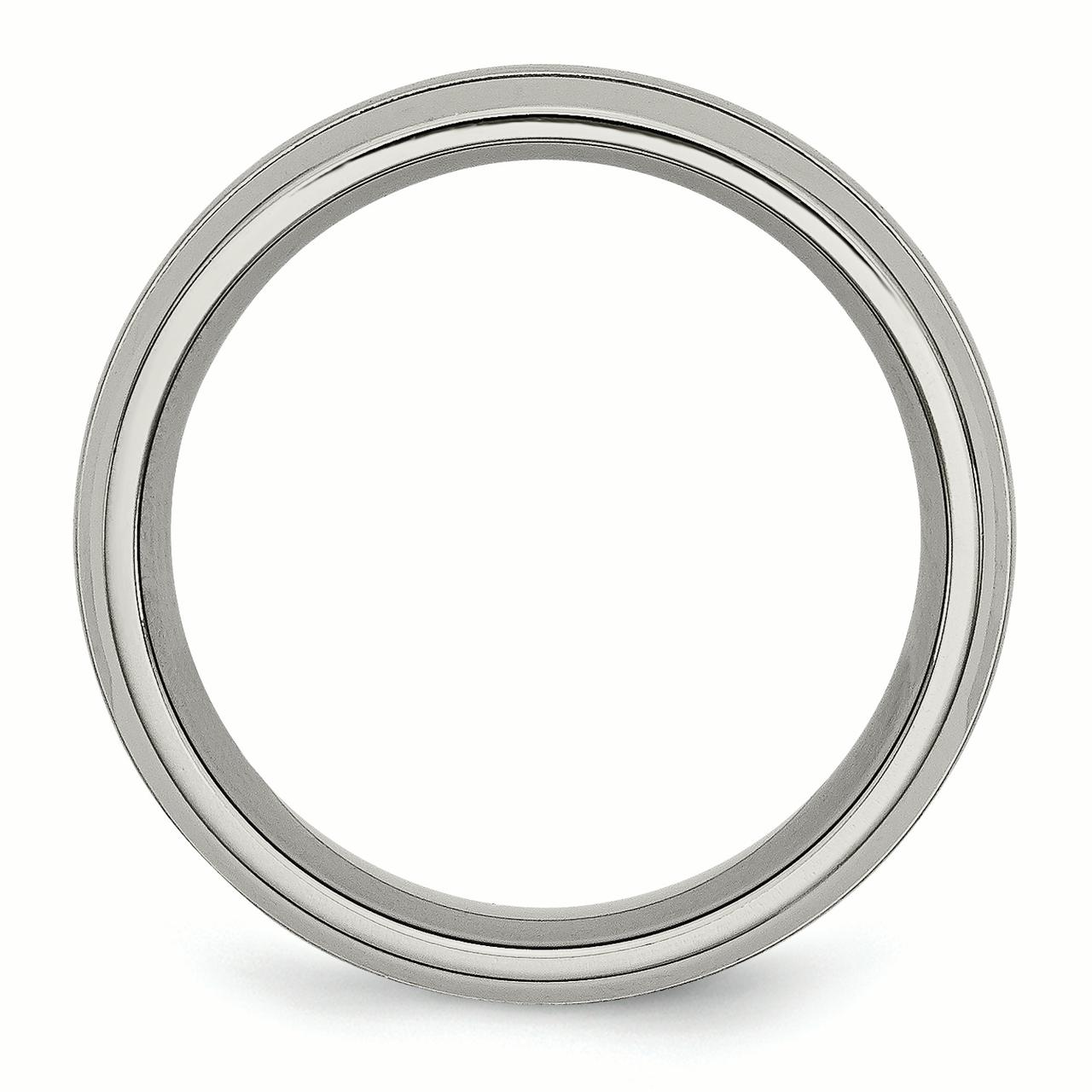Titanium Grooved 8mm Brushed Wedding Ring Band Size 14.50 Fashion Jewelry Gifts For Women For Her - image 2 de 6