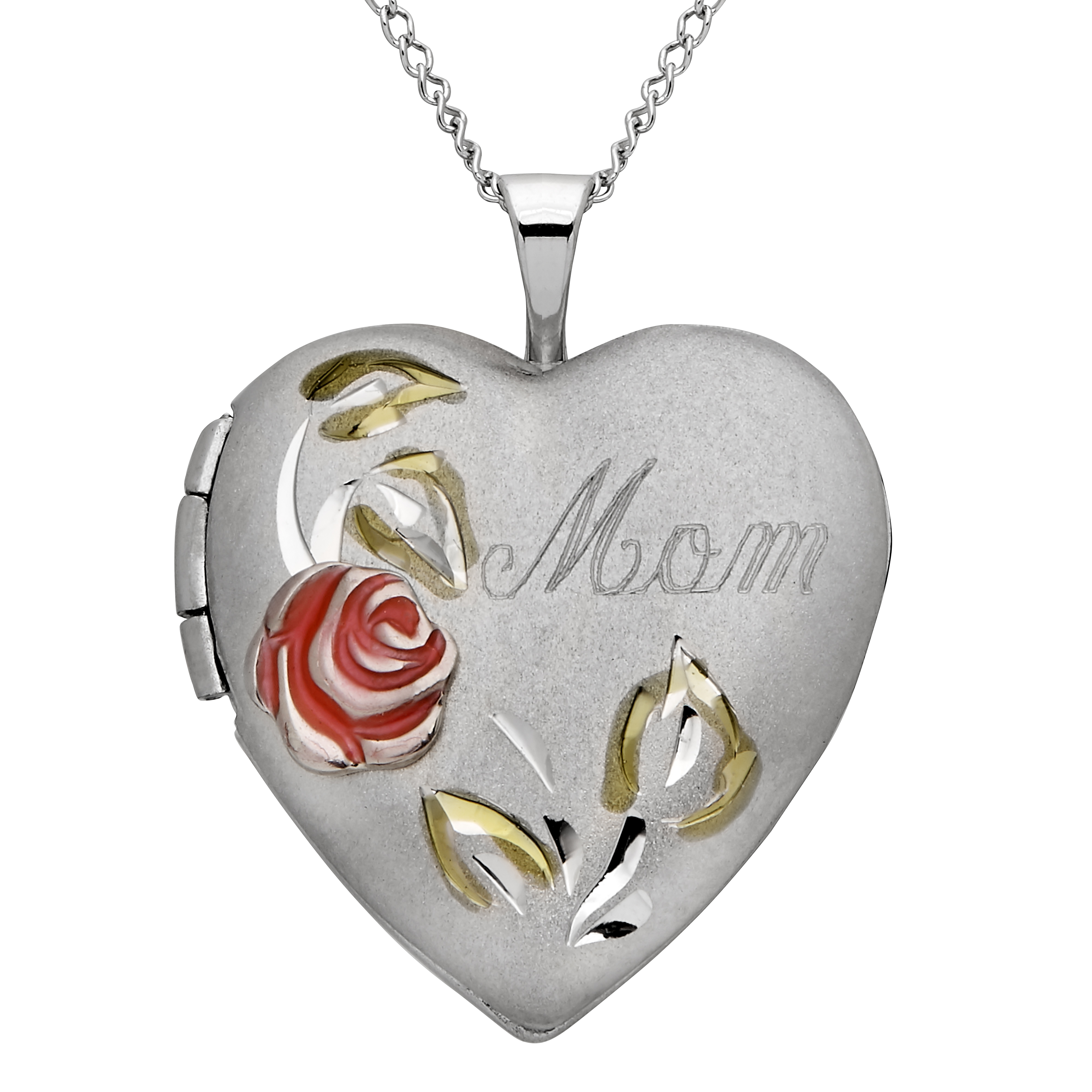 "Mom"" with Painted Rose Heart Locket Pendant in Sterling Silver, 18"
