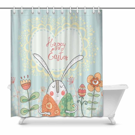 POP Happy Easter Rabbit with Eggs and Flowers in Cute Style Bathroom Shower Curtain Set 60x72 inch - image 1 of 1