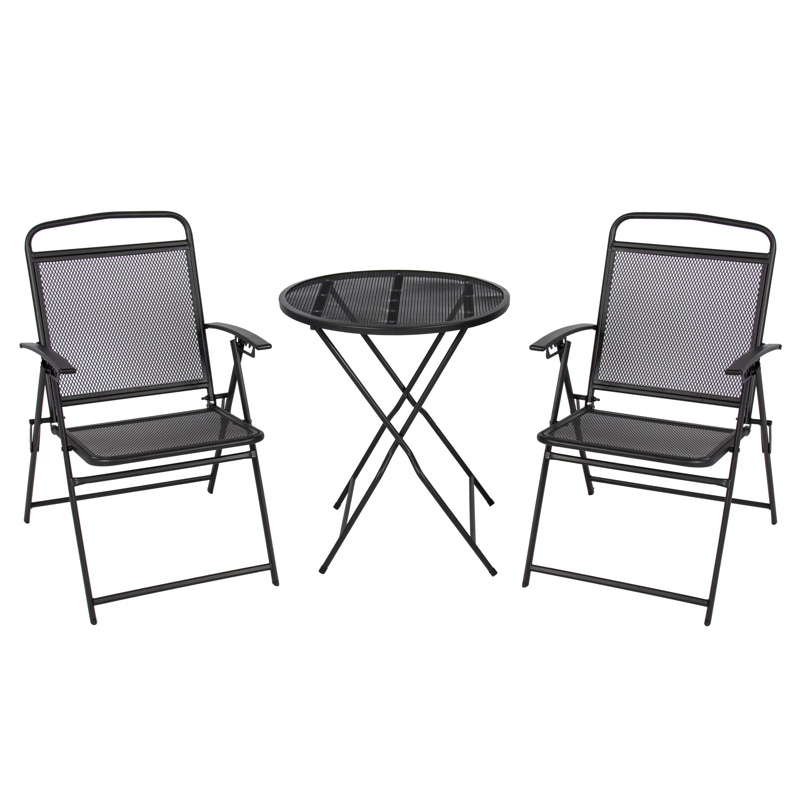 3 pc patio bistro set outdoor table and chairs wrough iron with black finish - Wrought Iron Patio Set
