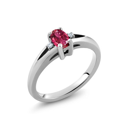 Pink Tourmaline Birthstone Ring (Sterling Silver Oval Pink Tourmaline Women's Ring 0.53 Carat )