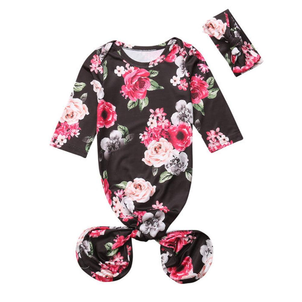 Newborn Infant Baby Girls Floral Sleeping Swaddle Bag Blanket With Headband