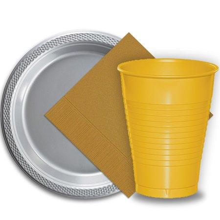 50 Silver Plastic Plates (9