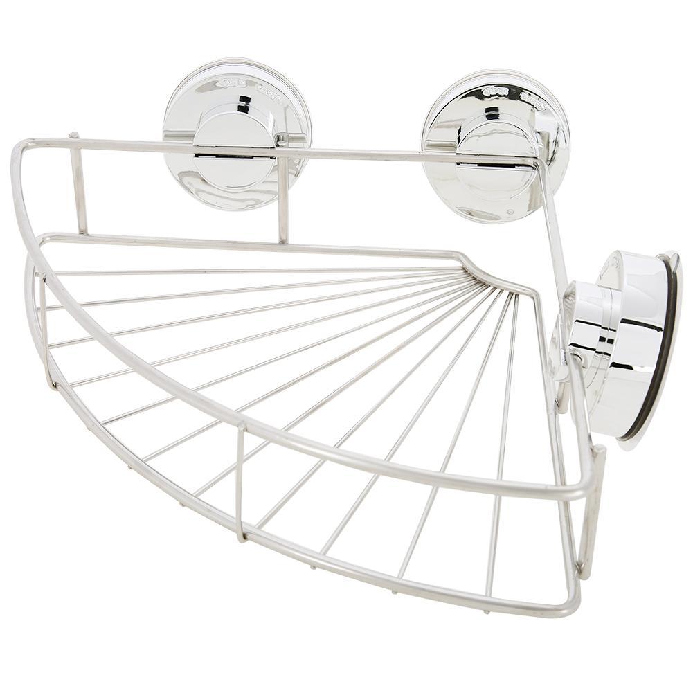 Knifun Bathroom Stainless Steel Shower Basket Suction Cup Corner