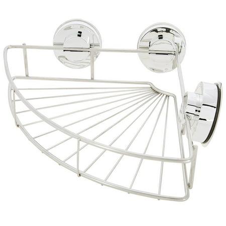 Knifun  Bathroom Stainless Steel Shower Basket Suction Cup Corner Shower Shelf Stainless Steel Wall Shower Caddy for Bathroom Storage Solid Stainless Steel Shower Basket