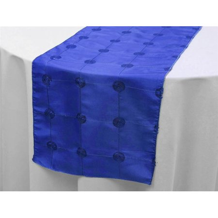 """BalsaCircle 14"""" x 108"""" Sequined Circles on Taffeta Table Top Runner - Wedding Party Reception Linens Dinner Decorations"""