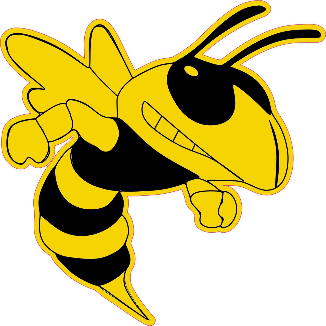 6in X 6in Right Facing Yellow Black Hornet Bee Masco Bumper Sticker