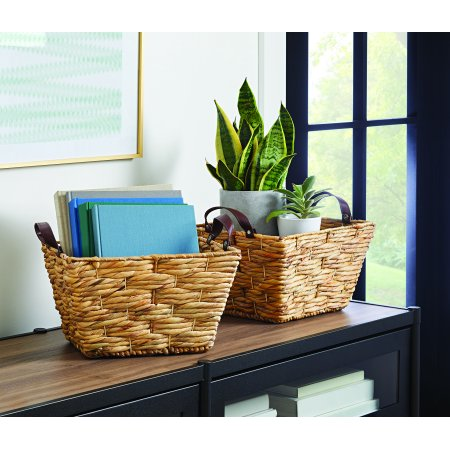 Better Homes & Gardens Natural Medium Rectangle Leather Handle Basket, Set of