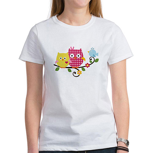 Women's Cute Happy Tree Owls on Branch Women's T-Shirt