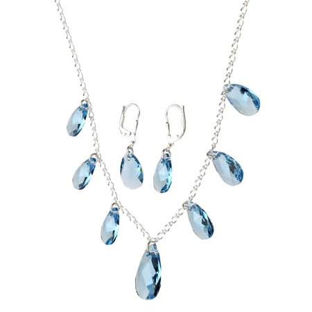 Sterling Silver Chain Necklace Aqua Teardrop Made with Swarovski Crystals 16+2