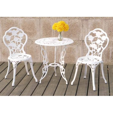 3 Pieces Bistro Set Outdoor Patio Garden Round Table Chairs Rose Floral in White ()