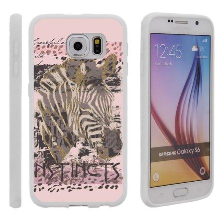 Samsung Galaxy S6 G920, Flexible Case [FLEX FORCE] Slim Durable TPU Sleek Bumper with Unique Designs - Pink Zebra Instinct