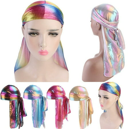 Unisex Durag Do Doo Du Rag Long Tail Headwrap Bandana Caps Men Women Headband