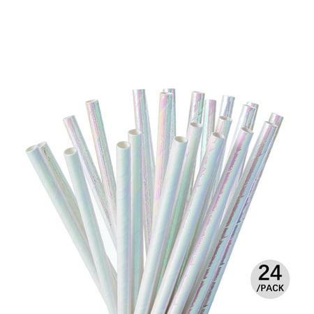 LivingBasics™ Party Paper Straws, Iridescent Shiny, 24Pcs - image 3 de 3