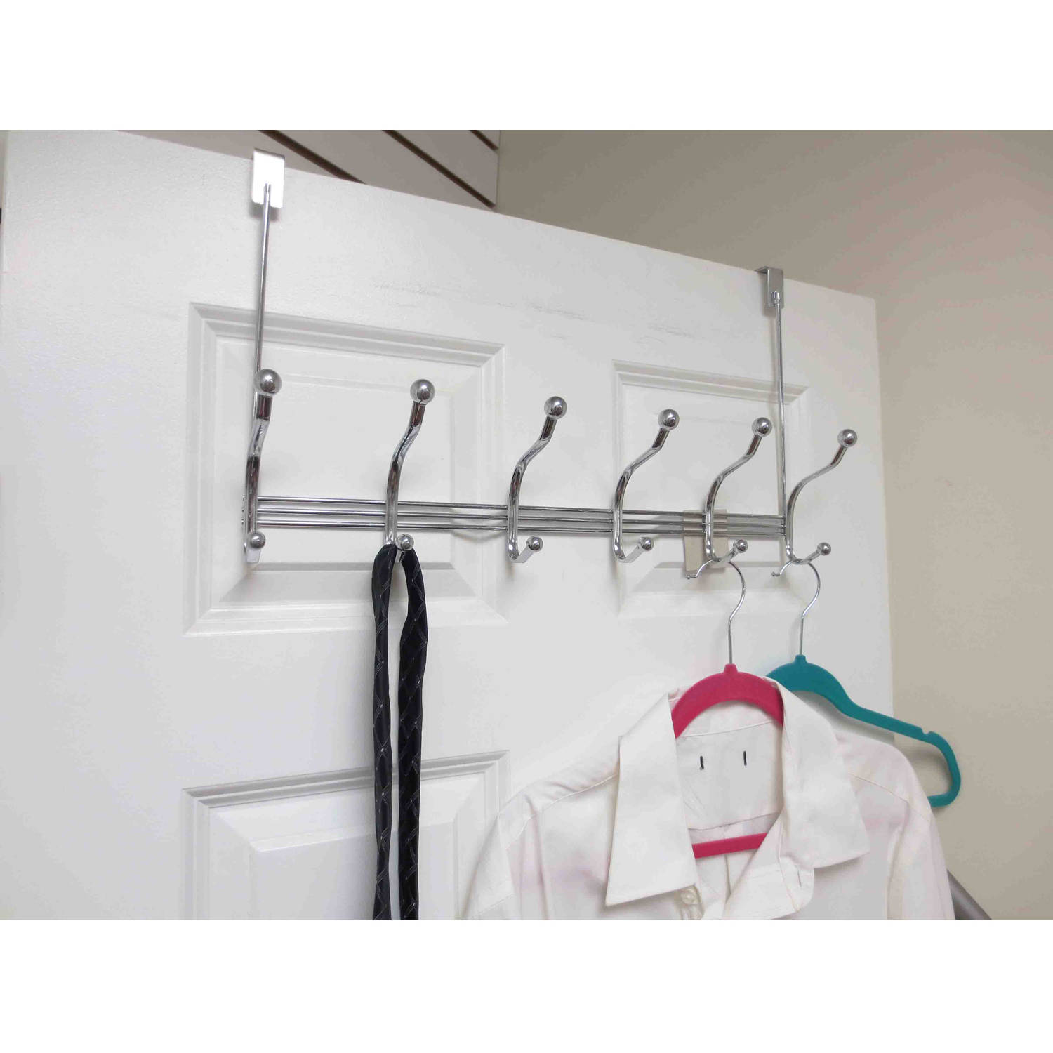 Home Basics 6 Hook Over-the-Door Tri-Bar Hanging Rack