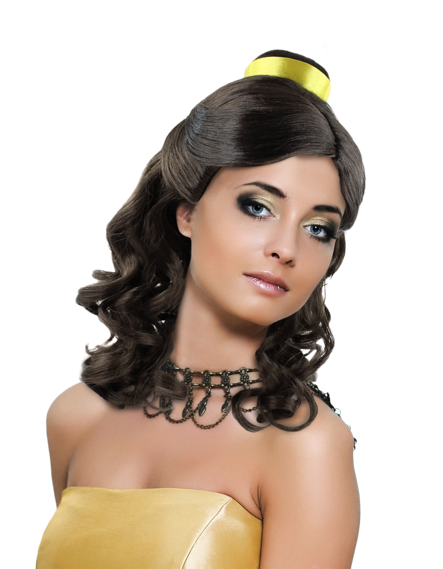 Princess Belle Wig Long Curly Wave Hair With Ribbon For Cosplay Costume Party Dress Up Halloween Dark Brown