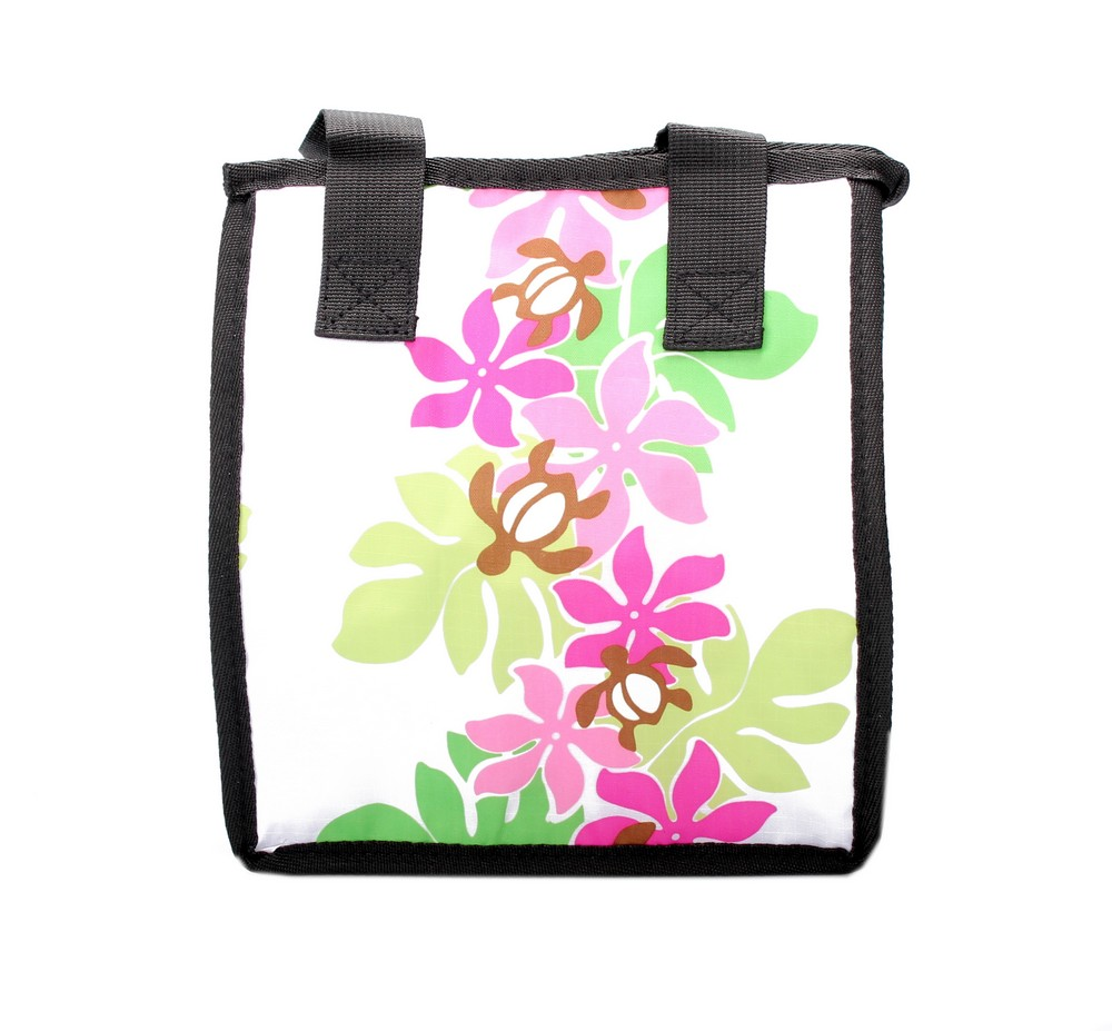 Hawaiian Print Thermal Insulated Zipper Lunch Bag Line Floral Turltes in White