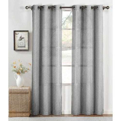 "Nubby Linen Blend Sheer Grommet 76"" x 84"" Curtain Panel Pair by YMF Carpets Inc."