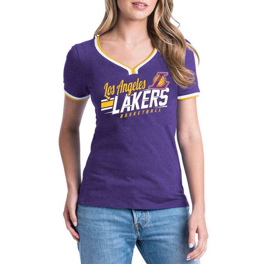 NBA Los Angeles Lakers Women's Short Sleeve Biblend V-notch Scoop Tee