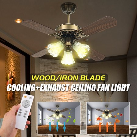 36 Inch E27 Vintage Ceiling Fan Modern Iron Cooling Lamp Indoor LED Wood Blade Light 4 Blades 3 Speed Modes 60W With Remote Control Sling Control AC110-240V