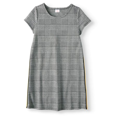 Wonder Nation Cap Sleeve Plaid Dress With Side Stripe Detail (Little Girls, Big Girls and Big Girls Plus)