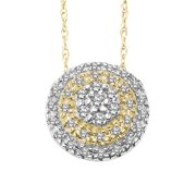 """Keepsake Forever Treasure 1/5ctw Diamond 10K Yellow Gold Round Pendant Necklace (I-J color, i3 clarity), 18"""" Rope Chain"""