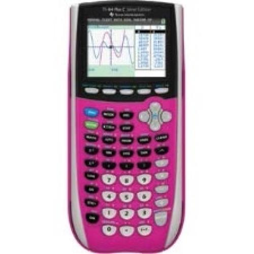 Texas Instruments TI-84 Plus C Silver Edition Graphing Calculator - Backlit Display, Impact Resistant Cover, Slide-on Hard Case - 3.50 MB, 21 KB - Flash, RAM - 14 Digits - LCD - Battery Powered - Pink