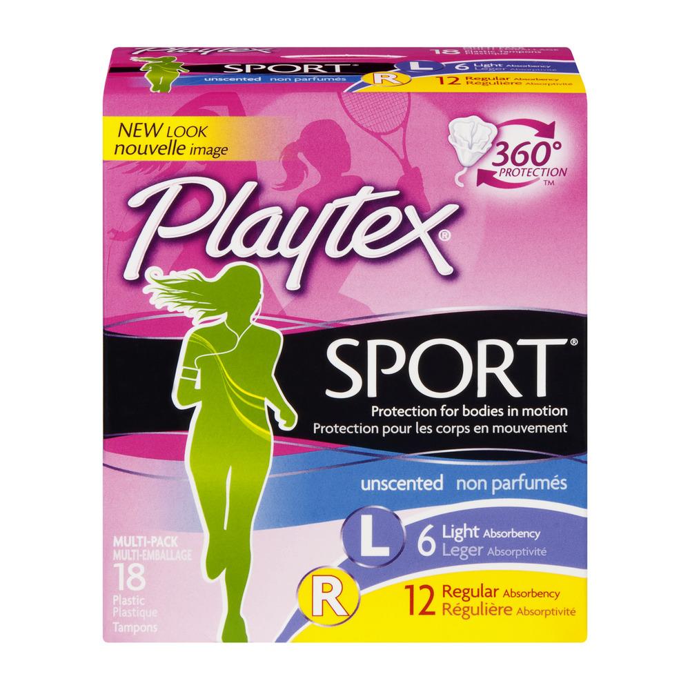 Playtex Sport Multi-Pack Light/Regular Unscented Plastic Tampons - 18 CT