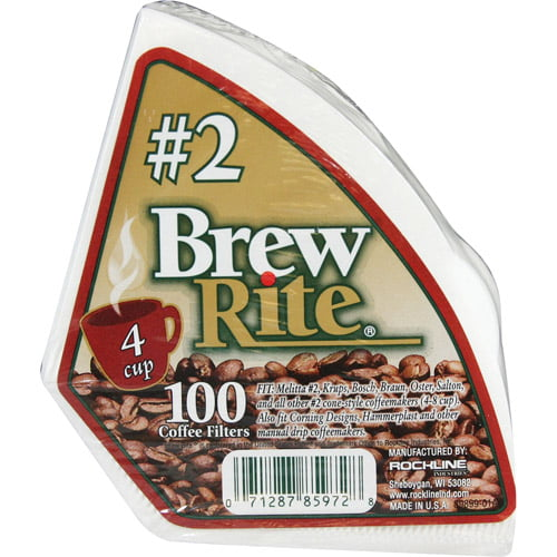 Brew Rite #2 Cone Coffee Filter, 100 Ct by Rockline Industries