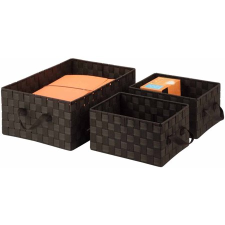 Honey Can Do Woven Baskets with Handles, Multicolor (3-Piece Set) (Lined Baskets Honey)