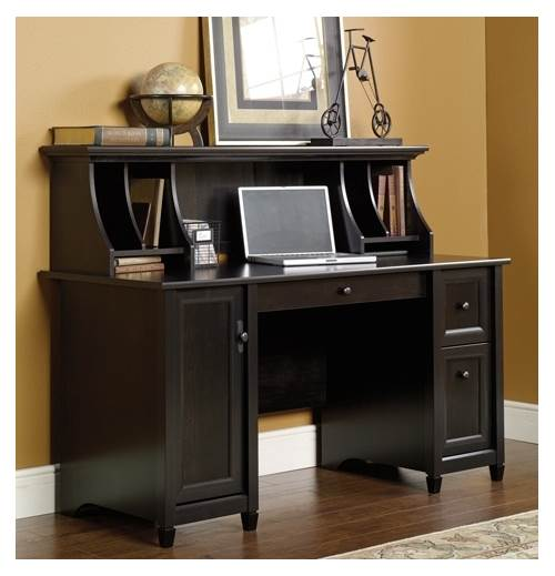 Edge Water Computer Desk W Hutch In Estate Black Finish