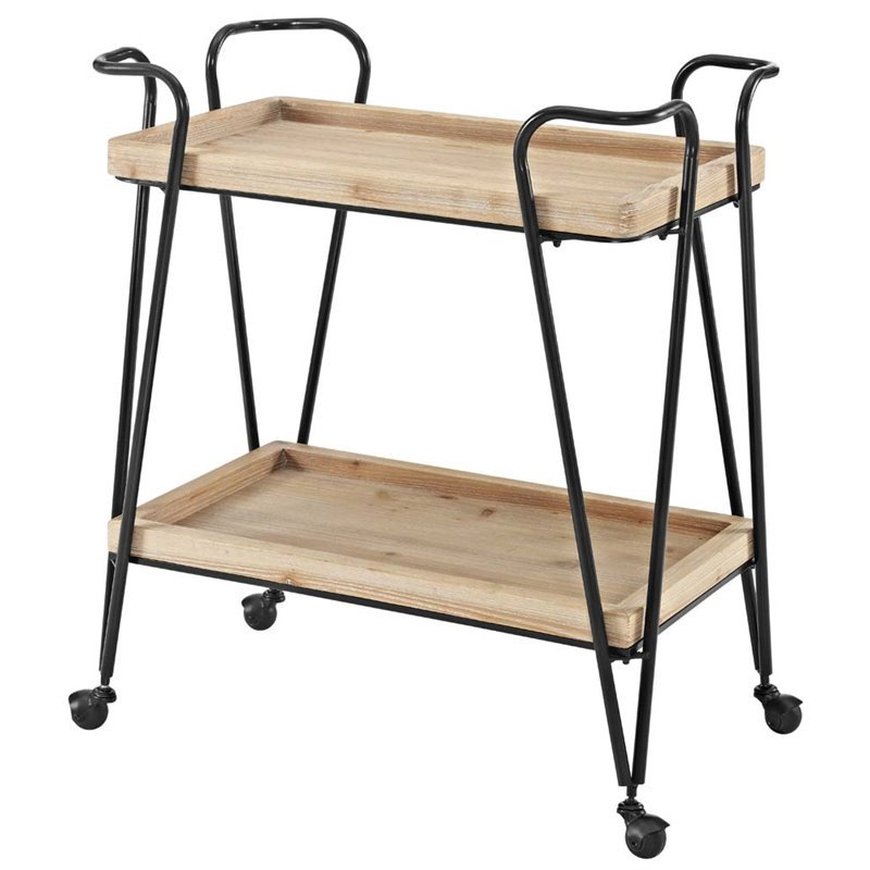 Linon Mid-Century Rectangular Bar Cart, Wood and Black