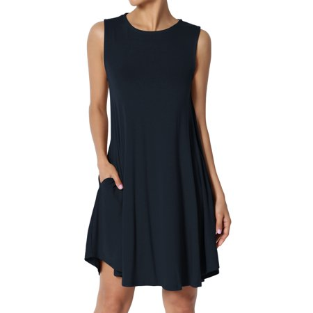 TheMogan Women's PLUS Sleeveless Crew Neck Pocket Flared Long Tank Top Mini Dress