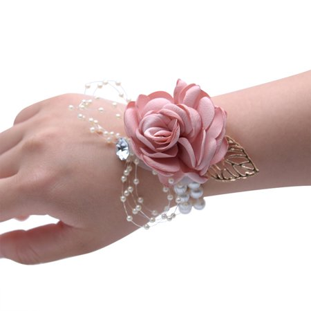Wedding Girl Bridesmaid Wrist Flower Bracelet Corsage Brooch Hand Decor Color:Pink ()