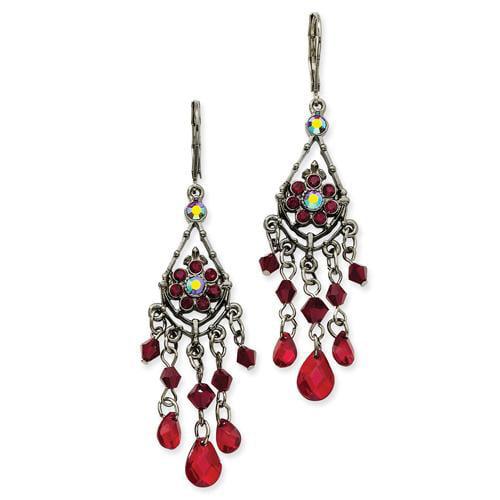 Black-plated Red Aurora Borealis Crystal Chandelier Leverback Earrings