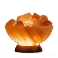 "Himalayan Salt Abundance Bowl Lamp w/ Salt Chunks: 8"" Diameter, 8-10 lbs"