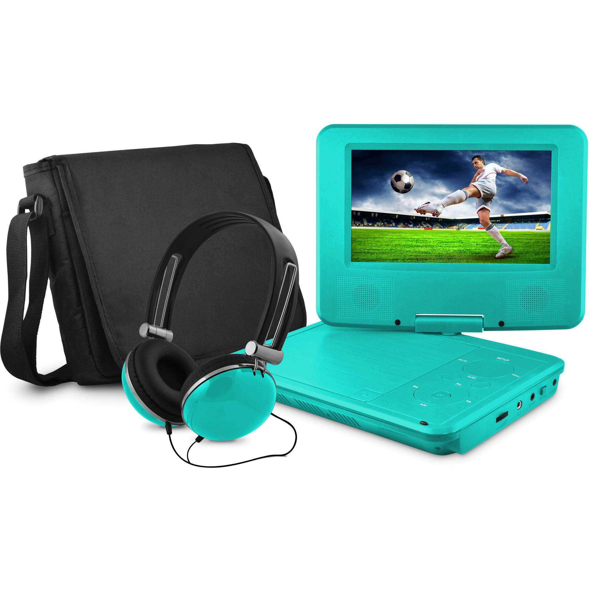 "Onn by Walmart 7"" portable dvd player with matching headphones and bag"