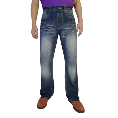 Flypaper Men's Bootcut Fit Fashion Denim Jeans Medium Blue Sandblasted Wash
