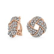 Woven White Clear Crystal Love Knot Work Clip On Earrings for Women Non Pierced Ears Rose Gold Plated Brass
