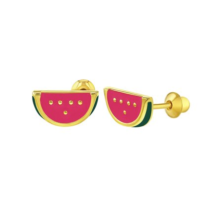 In Season Jewelry 18k Gold Plated Fruit Watermelon Pink Enamel Kids Screw Back Earrings