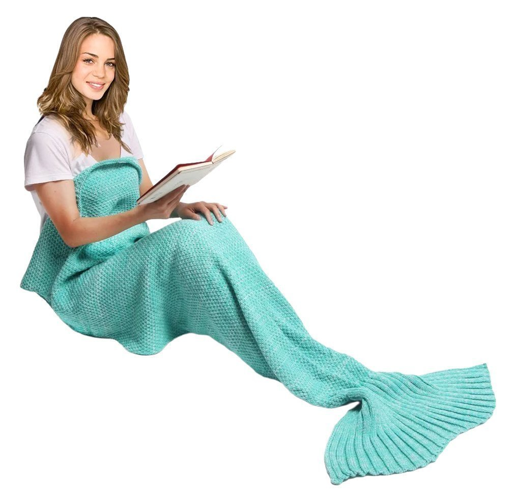 e-joy Mermaid Tail Crochet Knitting Blanket all Season Bag Best Birthday Christmas Gift Handmade Living Room Sleeping Blanket for Kids and Adult - Children Blue 56'x25'